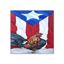 "El Que Canta Rooster and Pu Square Sticker 3"" x 3"""
