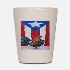 El Que Canta Rooster and Puerto Rican F Shot Glass