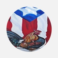 El Que Canta Rooster and Puerto Ric Round Ornament