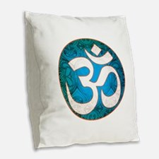 Pause and listen for the ohm Burlap Throw Pillow