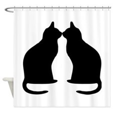 Black Cats Silhouette Shower Curtain