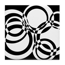 Black And White Circles Design #2 Tile Coaster