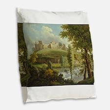 Medieval castle Burlap Throw Pillow