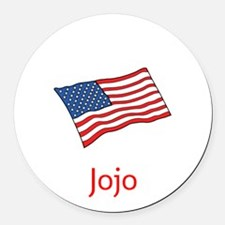 Old Glory Personalized July 4 Pop Round Car Magnet