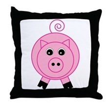 Cute Pink Pig Throw Pillow