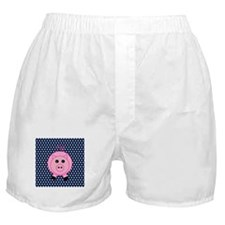 Pink Pig on Blue and White Polka Dots Boxer Shorts