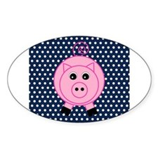 Pink Pig on Blue and White Polka Dots Decal