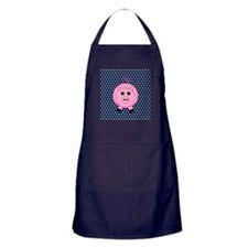 Pink Pig on Blue and White Polka Dots Apron (dark)