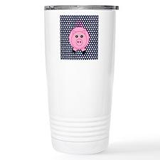Pink Pig on Blue and White Polka Dots Travel Mug