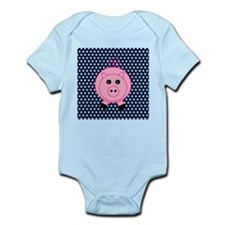 Pink Pig on Blue and White Polka Dots Body Suit