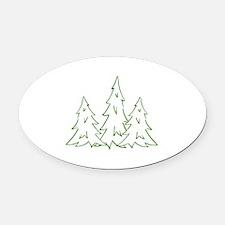 Three Pine Trees Oval Car Magnet