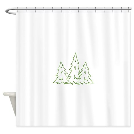 three pine trees shower curtain