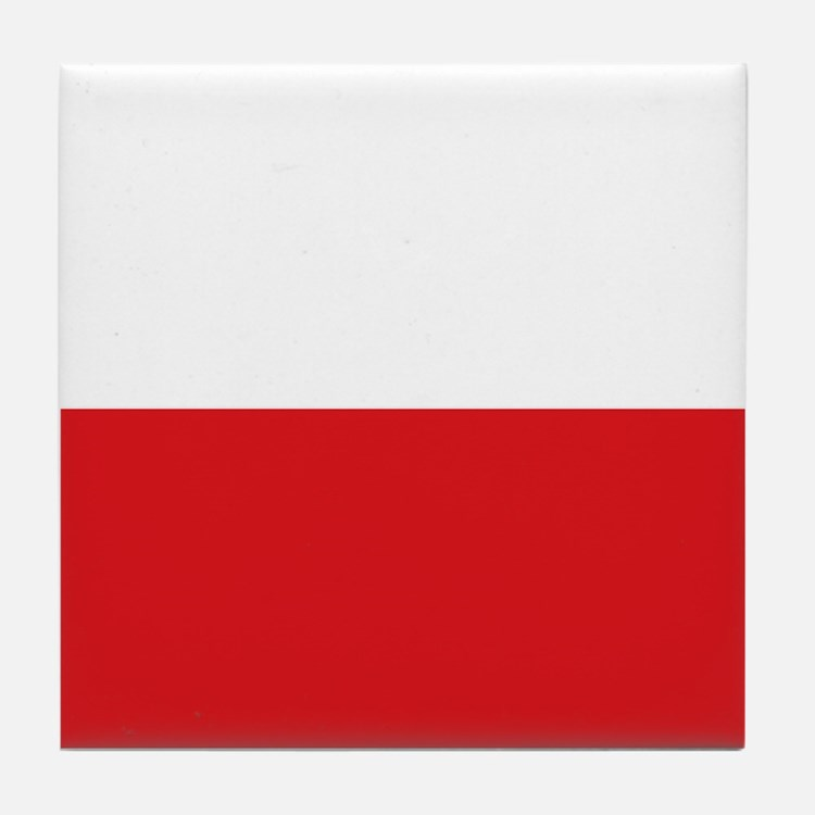 Polish flag Tile Coaster