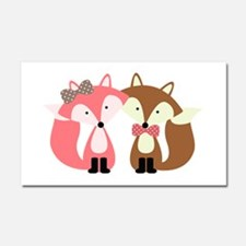 Pink and Brown Fox Couple Car Magnet 20 x 12