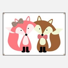 Pink and Brown Fox Couple Banner