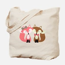 Pink and Brown Fox Couple Tote Bag