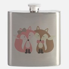 Pink and Brown Fox Couple Flask