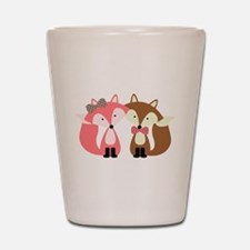 Pink and Brown Fox Couple Shot Glass