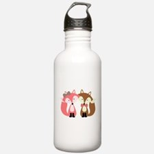 Pink and Brown Fox Couple Water Bottle