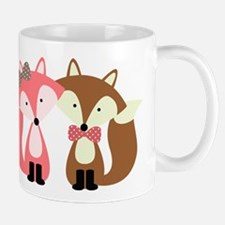 Pink and Brown Fox Couple Mugs