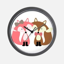 Pink and Brown Fox Couple Wall Clock