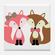 Pink and Brown Fox Couple Tile Coaster