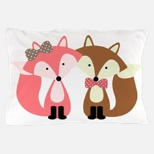 Pink and Brown Fox Couple Pillow Case