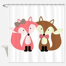 Pink and Brown Fox Couple Shower Curtain