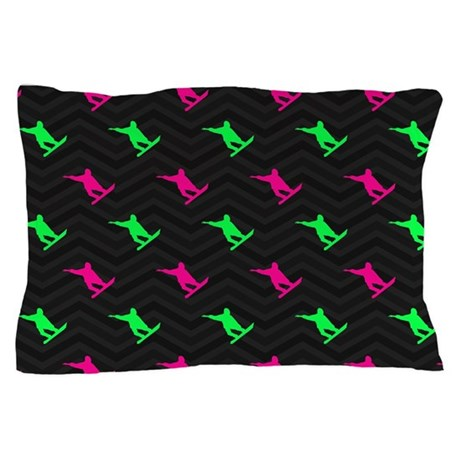 Neon Green And Hot Pink Snowboarding Pillow Case By