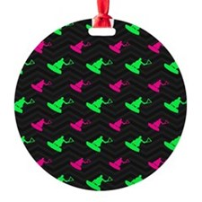Neon Green and Hot Pink Wakeboarding Ornament
