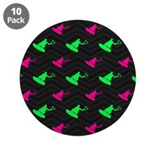 """Neon Green and Hot Pink Wakeboarding 3.5"""" Button ("""