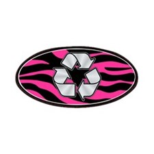 HOT PINK ZEBRA SILVER RECYCLE Patches