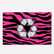 HOT PINK ZEBRA SILVER RECYCLE Postcards (Package o
