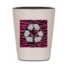 HOT PINK ZEBRA SILVER RECYCLE Shot Glass