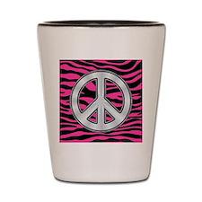 HOT PINK ZEBRA SILVER PEACE Shot Glass