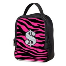 HOT PINK ZEBRA SILVER $ Neoprene Lunch Bag