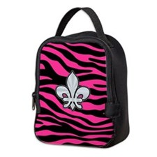 HOT PINK ZEBRA SILVER FLEUR DE LIS Neoprene Lunch