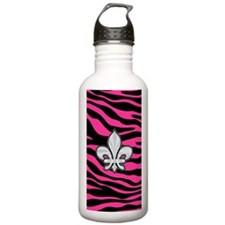 HOT PINK ZEBRA SILVER FLEUR DE LIS Water Bottle