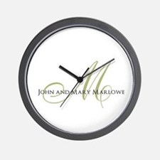 Names and Monogrammed Initial Wall Clock