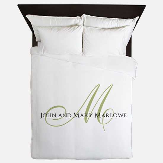Names and Monogrammed Initial Queen Duvet