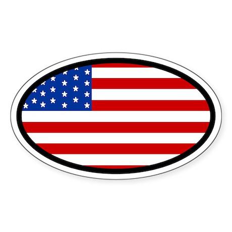 USA Stars and Strips Flag Oval Sticker
