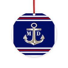 Navy Red Anchor Monogram Ornament (Round)