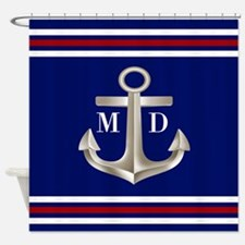 Navy Red Anchor Monogram Shower Curtain