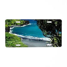 black sand beach Aluminum License Plate