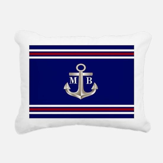 Navy Red Anchor Monogram Rectangular Canvas Pillow
