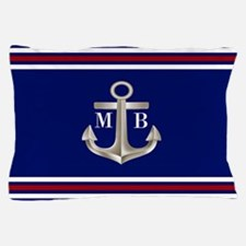Navy Red Anchor Monogram Pillow Case