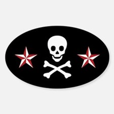 Nautical Star & Skull Oval Decal