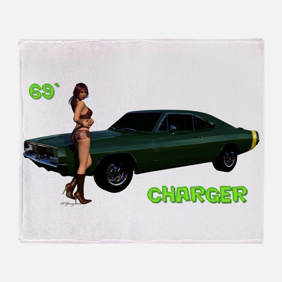 69 Charger Pinup Throw Blanket