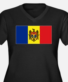 Moldovan flag Women's Plus Size V-Neck Dark T-Shir