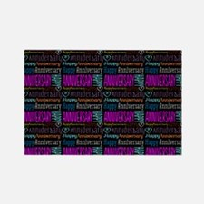 Happy Anniversary Text Pattern Rectangle Magnet